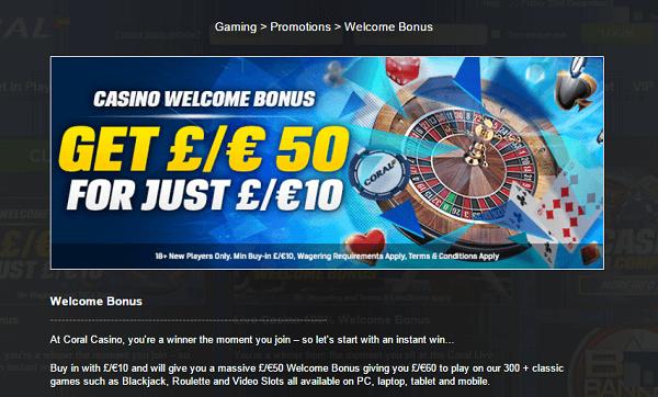 Corals Casino Bonus
