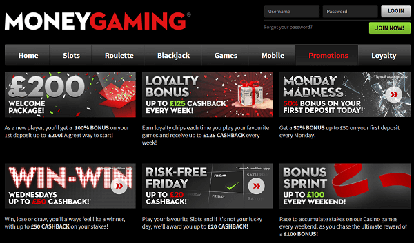 Money Gaming bonuses