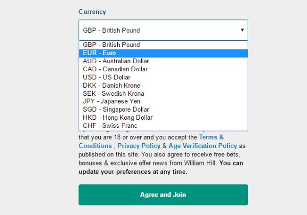 William Hill currencies