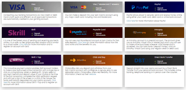 Spin Casino Deposit Options
